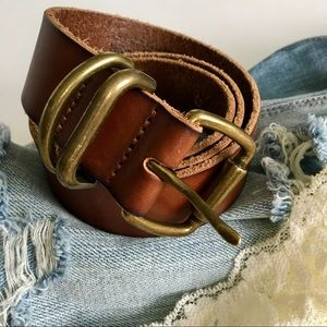 Vintage Gap Leather Belt With Brass Buckle